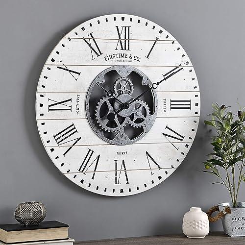 FirsTime Co. Shiplap Gears Wall Clock