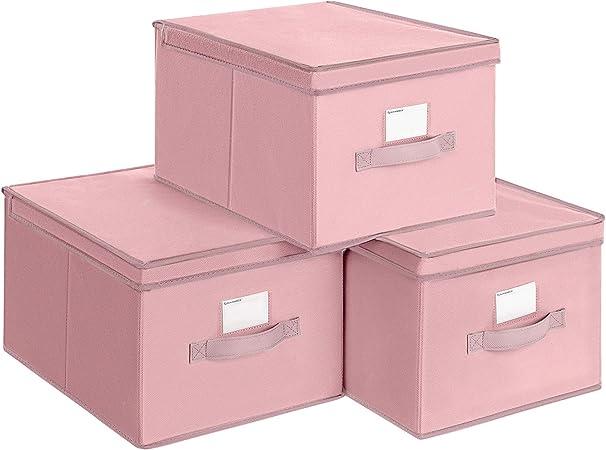 SONGMICS Juego de 3 Cajas Plegables de Alcon Tapas, Cubos de Tela con Portaetiquetas, 40 x 30 x 25 cm, Rosa RFB03PK: Amazon.es: Hogar