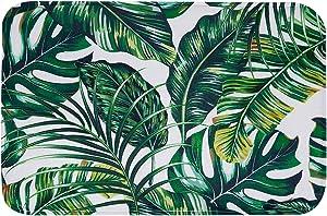 "LIVILAN Tropical Green Leaf Bath Rug, Thick Soft Memory Foam Non Slip Bath Mat, Bathroom Decor Rug Shaggy Bathroom Floor Carpet, Absorbent Super Cozy Machine Wash and Dry, 16"" X 24"""