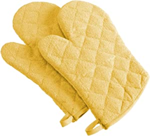 DII 100% Cotton Terry Oven Mitt Set, Ovenmitt, Yellow, 2 Piece