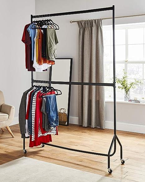 Resistente de dos niveles perchero ropa soporte para colgar en negro – construcción de metal (1,5 m de largo x 7 m de altura)