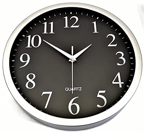 Amazon.com: Wall Clock Black with Brushed Chrome Frame Large Easy ...