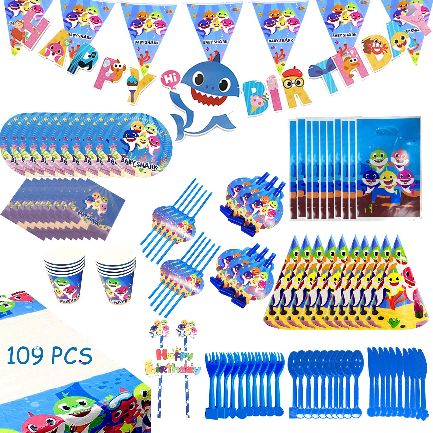 Baby Shark Party Supplies Set - 109 Pcs Baby Shark Themed Birthday Decorations Includes Disposable Tableware Kit Blowing Dragon Paper Hat Gift Bag and Banner - Serves 10 Guest