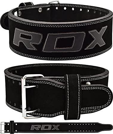RDX Powerlifting Belt Cow Hide Leather Gym Weight Lifting Belt Bodybuilding Training Nubuck Double Prong Back Support Fitness
