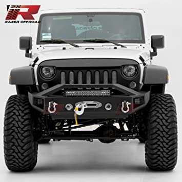 Black for 07-17 Jeep Wrangler JK Black 2x D-Ring and Built-In 22 LED Light bar mount Side LED mount /& Winch Mount Plate Razer Auto Textured Rock Crawler Stubby Front Bumper with OE Fog Light Hole
