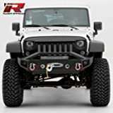 """Razer Auto 07-17 Jeep Wrangler JK Black Textured Rock Crawler Stubby Front Bumper with OE Fog Light Hole, 2x D-Ring and Built-In 22"""" LED Light bar mount, Side LED mount & Winch Mount Plate (Black)"""
