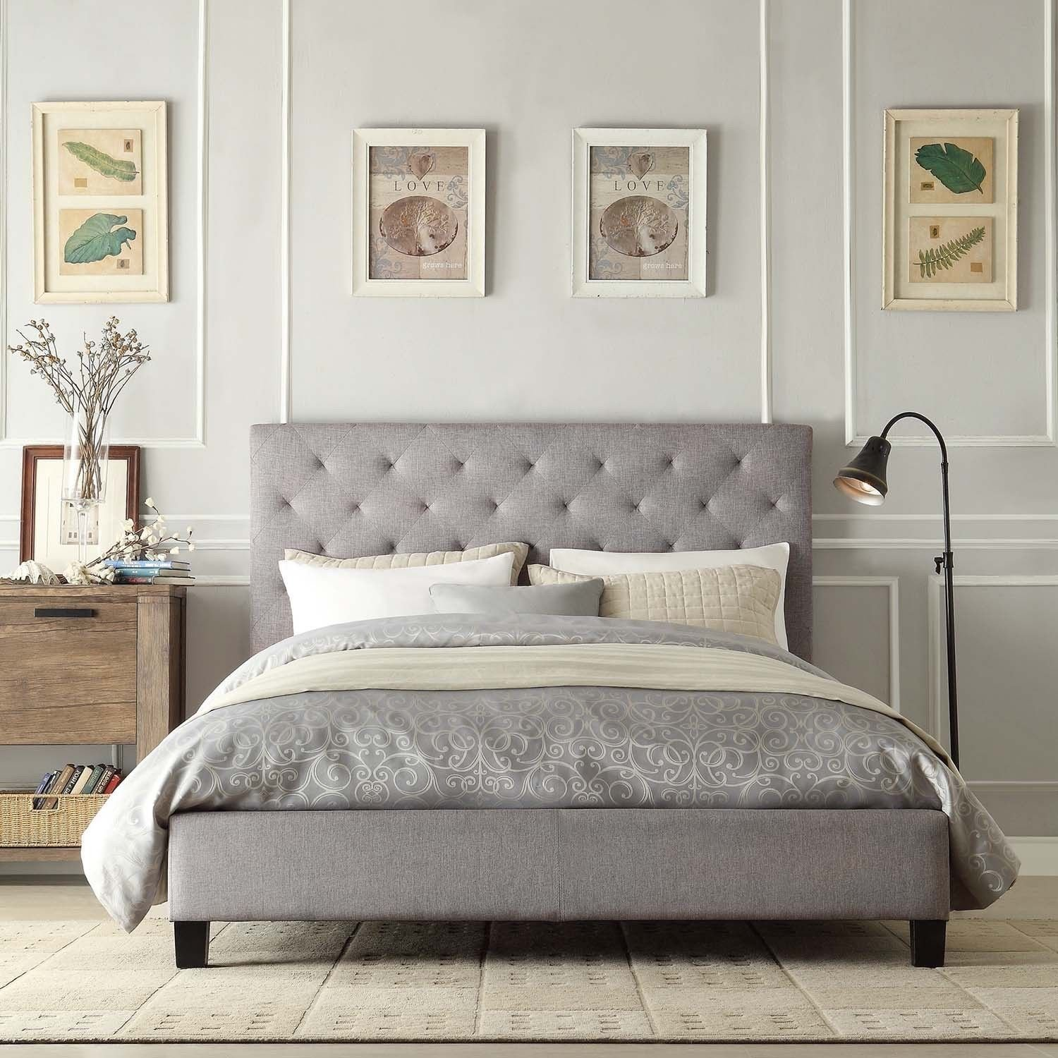 Amazoncom Contemporary Grey Linen Button Tufted Headboard Queen Platform Bed Kitchen