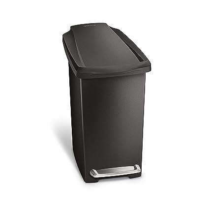 Simplehuman 10 Liter 2 6 Gallon Compact Slim Bathroom Or Office Step Trash Can Black Plastic
