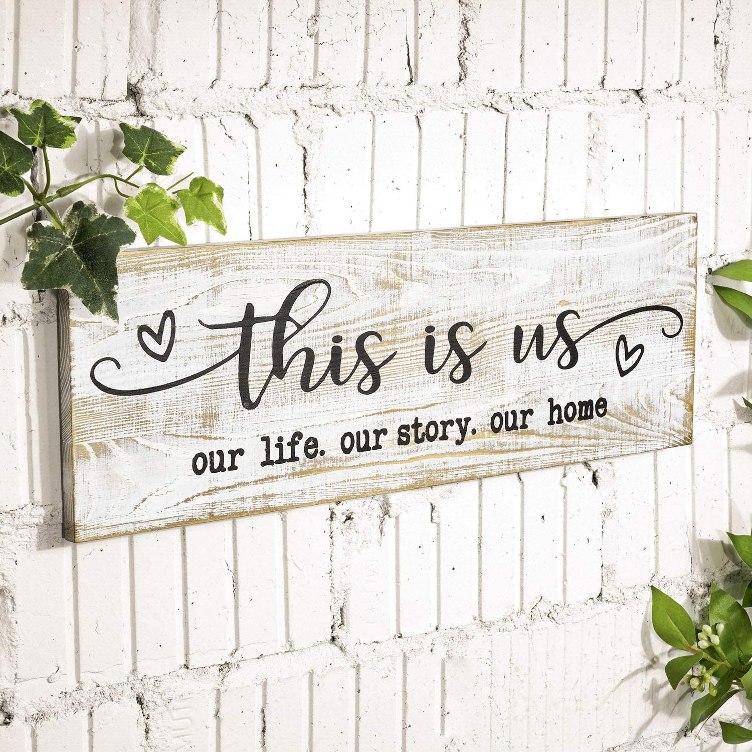 """CHICVITA Rustic Wood Wall Sign, This is Us Printed Farmhouse Wall Decor For Living Room Bedroom Entryway Kitchen, 16.5"""" x 5.5"""", White"""