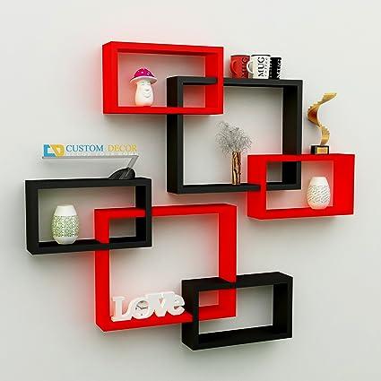 Custom Decor Wall Shelf Rack Set of 2 Linda Shaped Floating Shelves ...