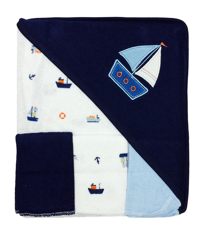 Rene Rofe Bon Bebe 4 Pc Bath Set Bath Blanket & 3 Washcloths (navy)
