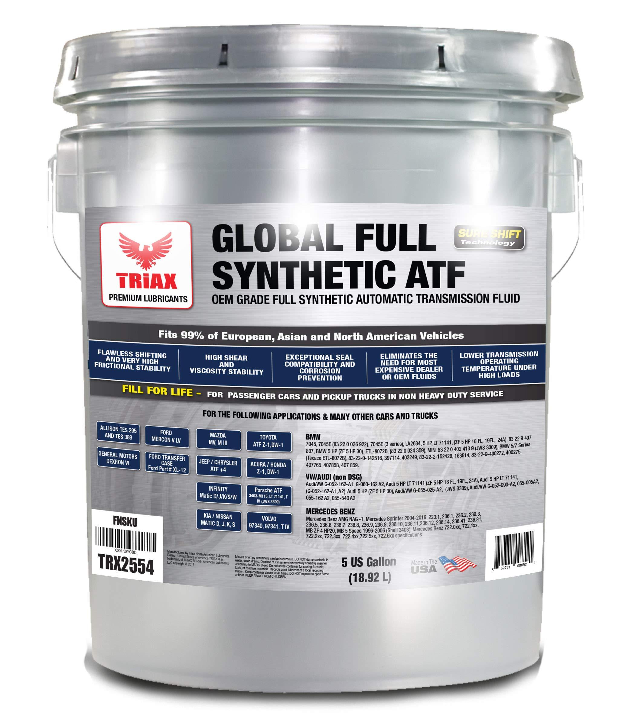 Triax Global Synthetic ATF - OEM Grade for Allison TES 295, BMW, Audi, Mercedes Benz, VW, Honda, Toyota, Nissan, Chrysler +4, Ford Mercon V/LV, Dexron VI, Nissan, ZF 6HP (5 GAL Pail)