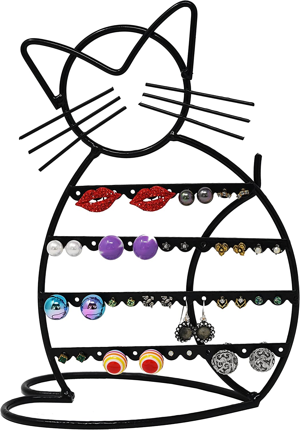 ARAD Cat-Shaped Earring Holder, Jewelry Rack, Display Organizer for Piercings (Black Finish)