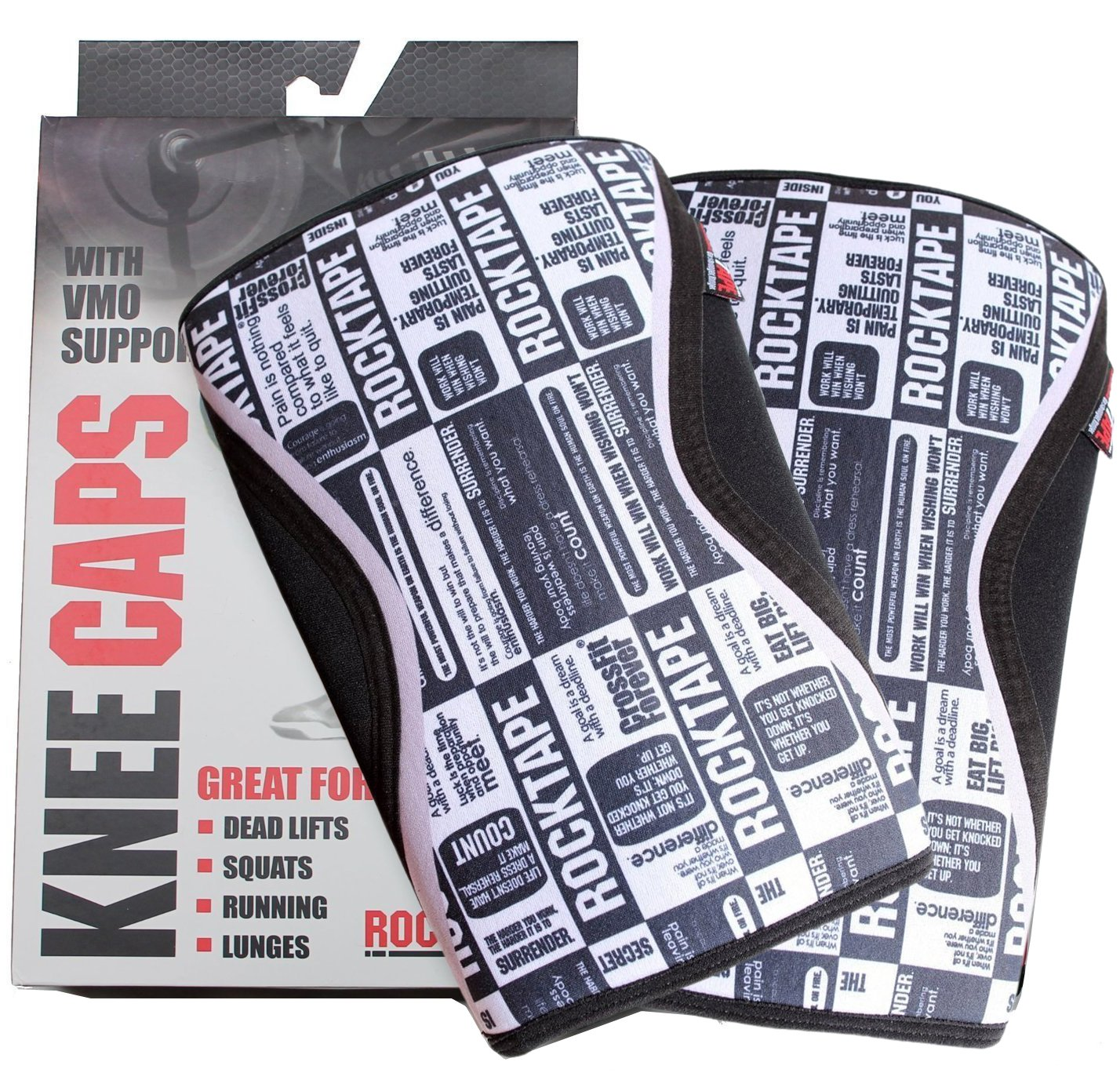 Rocktape Knee Sleeves, 2-Pack, Competition Grade, 5mm Thickness, Compression Neoprene, Extra Long for VMO Support, Manifesto, M
