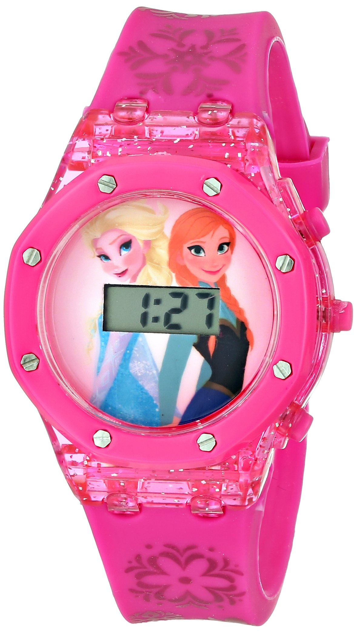Disney Kids' FZN3568 Frozen Anna and Elsa Digital Watch with Pink Band