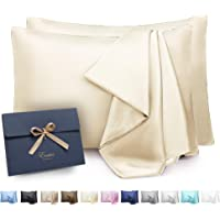 ENETIX Luxury 100% Stain Silk Pillowcase for Hair and Skin with Hidden Zipper, Smooth Acne Free Silky Pillow Cover…
