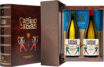 CAMINO DE CABRAS Estuche regalo – Producto Gourmet – Vino blanco - Godello Valdeorras + Albariño Rias Baixas - Vino bueno para regalo - 2 botellas x 75cl: Amazon.es: Alimentación y bebidas