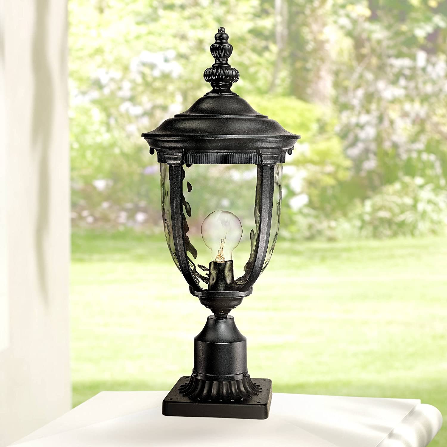 Black 84 High Outdoor Direct Burial Post Light Pole