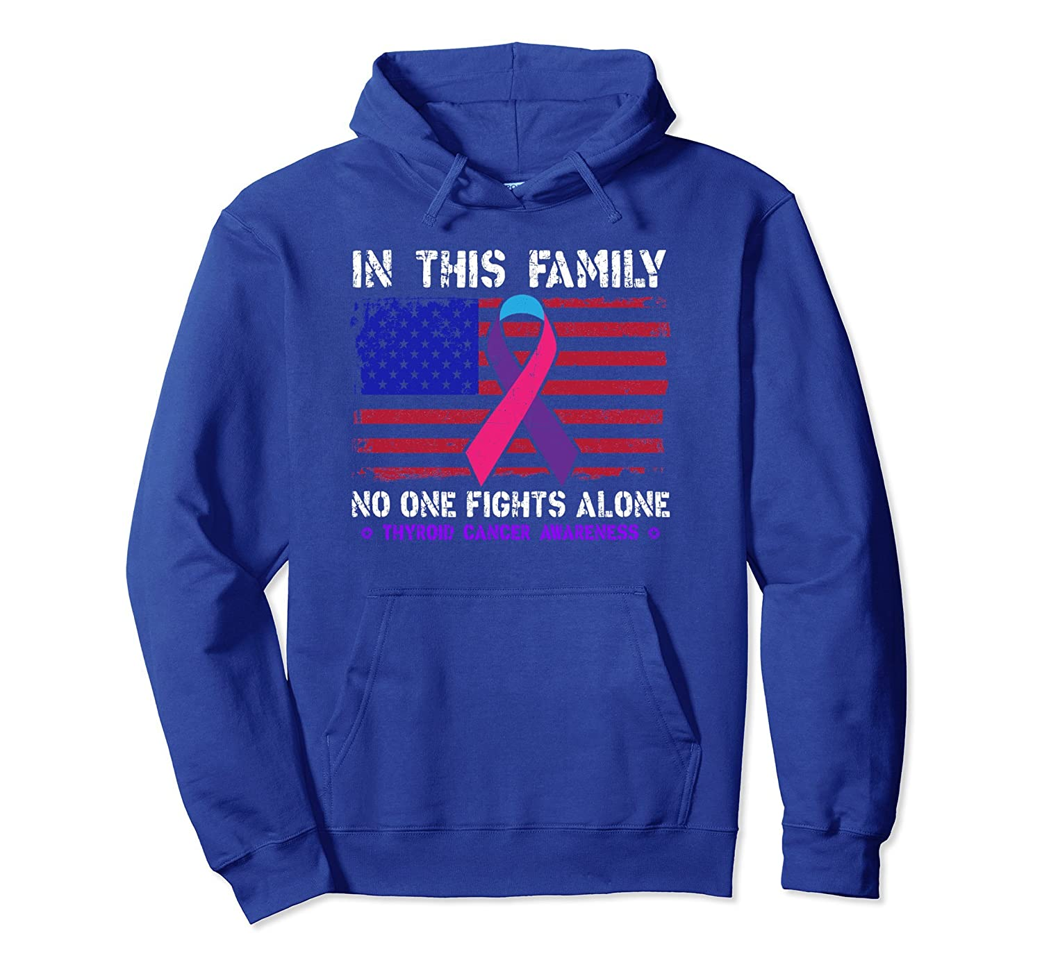 Thyroid Awareness No One Fights Alone Ribbon Hoodie-TH