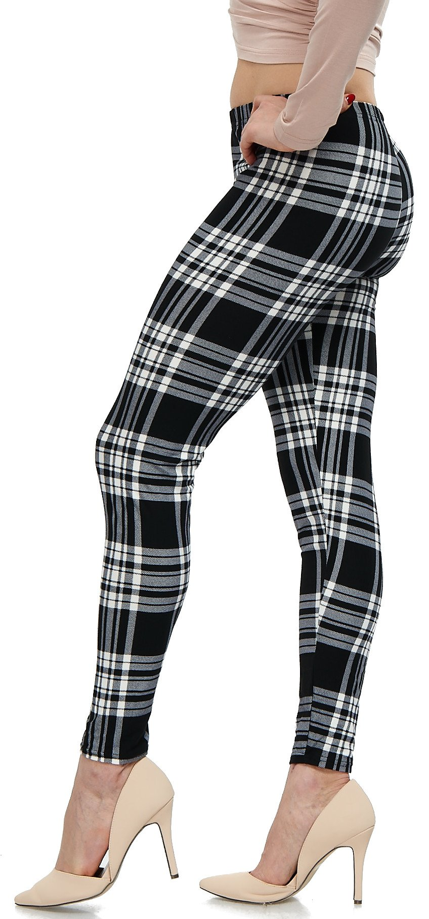 LMB Lush Moda Extra Soft Leggings with Designs- Variety of Prints - 707F Black Plaid B5