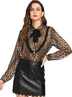 80cb1bd54941bb WDIRARA Women s Leopard Print Tie Neck Long Sleeve with Button Blouse Top