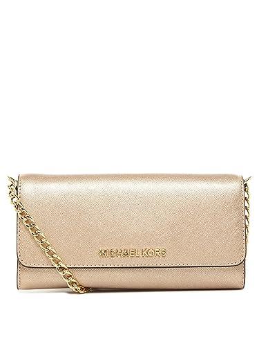 2887ef9ebc13 Michael Kors Jet Set Metallic Leather Travel Chain Wallet Pale Gold   Handbags  Amazon.com