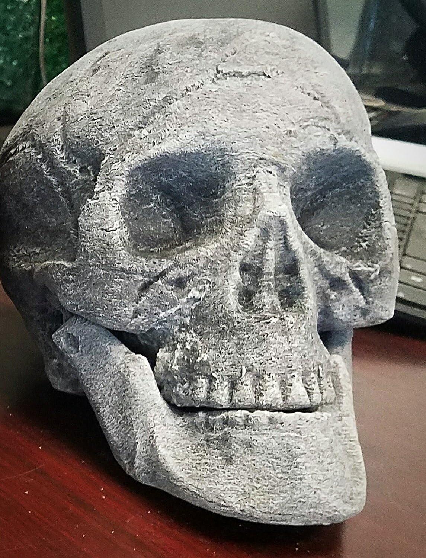 Gray Ceramic Fireplace Skull - Designed for Fireplaces and Fire Pit Ceramic Skull Fire On Glass