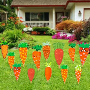 DERAYEE 12Pcs Outdoor Easter Decorations, Outside Yard Lawn Carrot Stake Signs Large Easter Décor Hunt Game Props Party Supply
