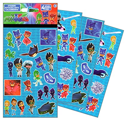 PJ Masks Stickers - 4 Sheets of Stickers