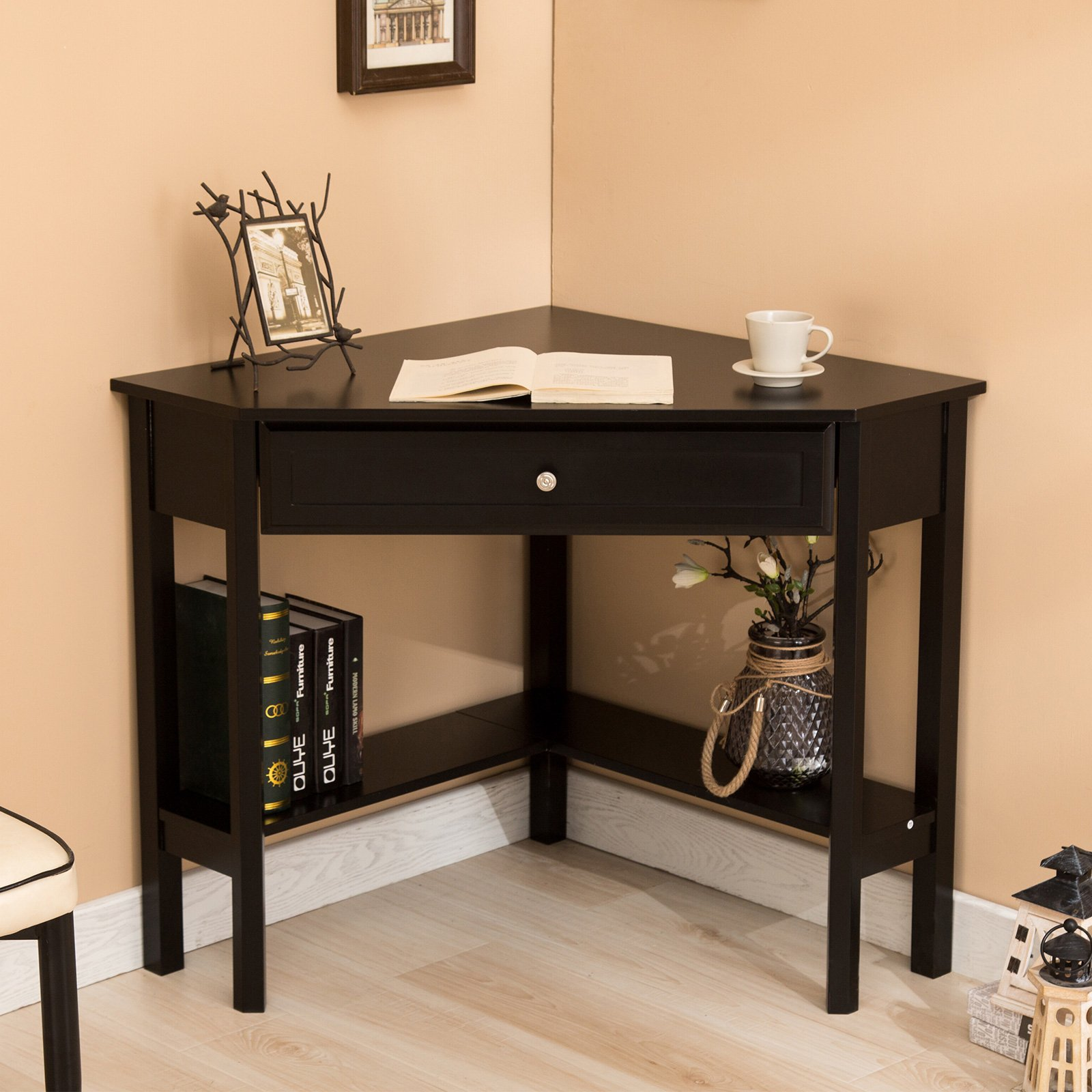 Mecor Corner Desk/Table with One Drawer & One Shelf-Wood Corner Computer Laptop Desk for Writing, Work etc-Home Office Use-Black by Mecor