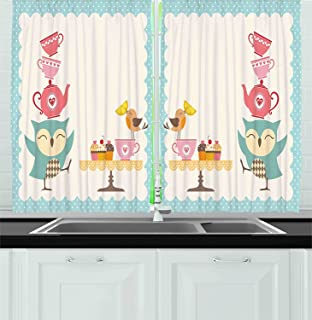 Ambesonne Kitchen Decor Collection, Owl At Tea Party Bird With Lemon  Cupcakes And Teacups Vintage