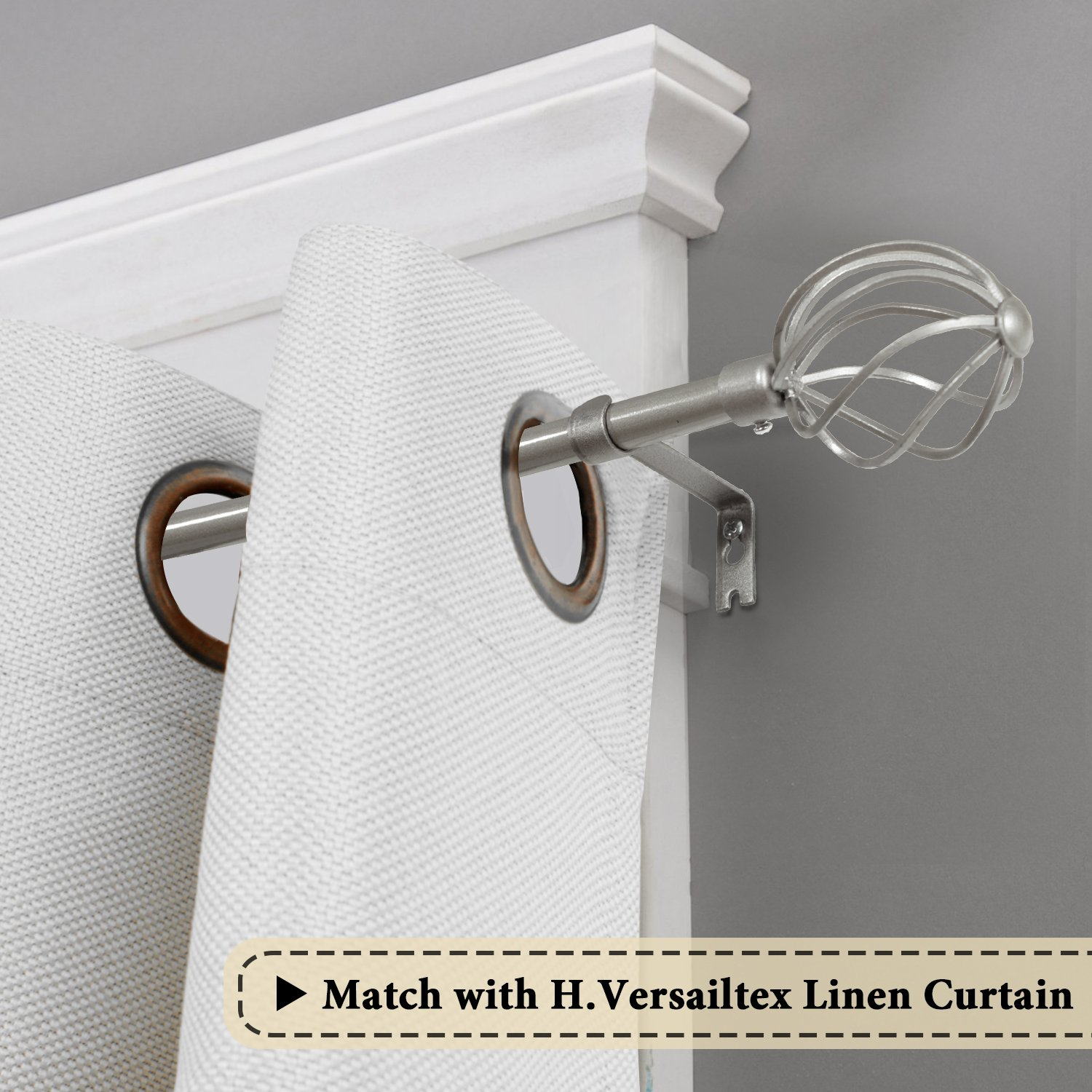 H.VERSAILTEX Window Curtain Rod Set, Adjusts Rod Length from 48 to 84-Inch, 3/4 - Inch Diameter, Twisted Sphere Finials, Nickel