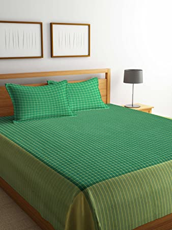 Dhrohar Classy Hand Woven Cotton Double Bed Cover with 2 Pillow Covers - Green & Yellow