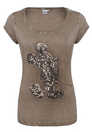 Rock Angel Damen Pailletten T-Shirt mit Mickey Mouse Aufdruck | Elegantes  Basic Shirt Middle