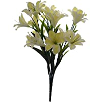 Fourwalls Synthetic Fabric Artificial Lily Flower Bunch (21 Flower Heads)