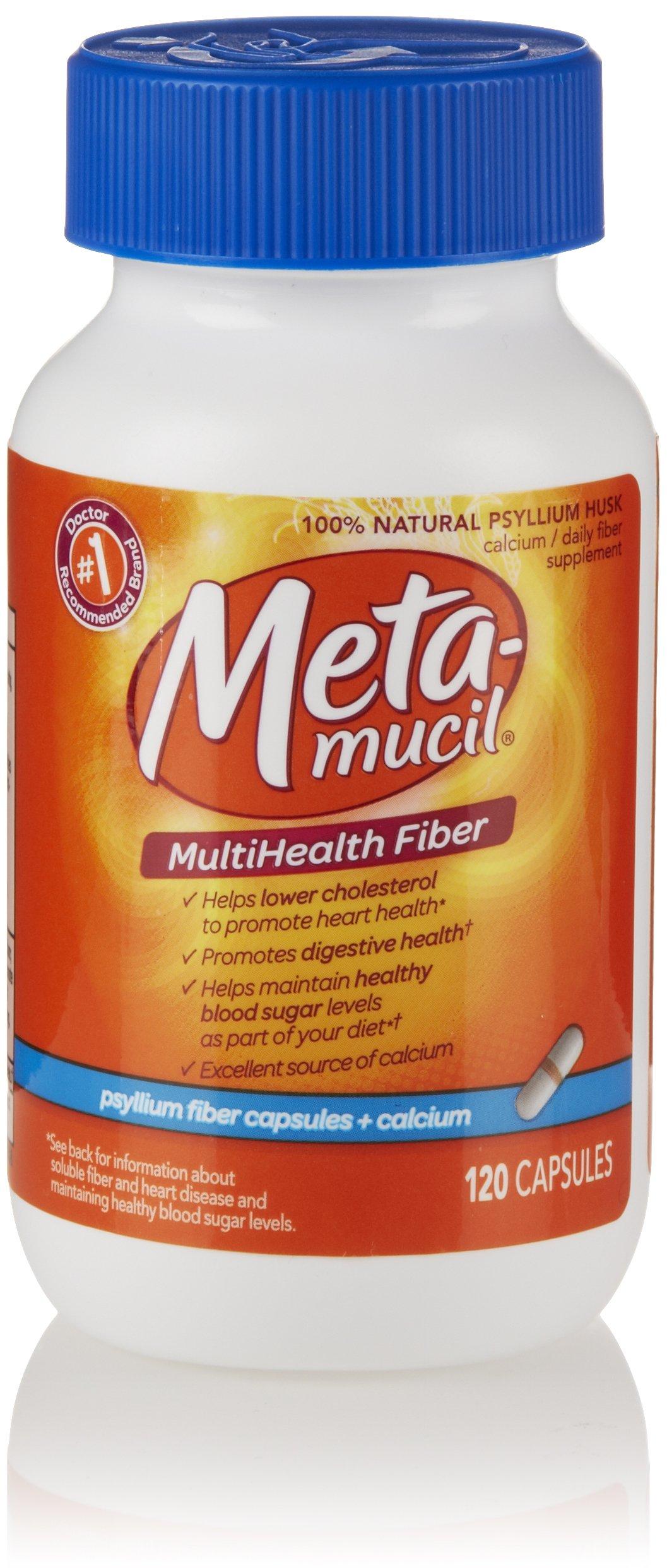 Metamucil Psyllium Fiber Supplement Capsules + Calcium 120 Count