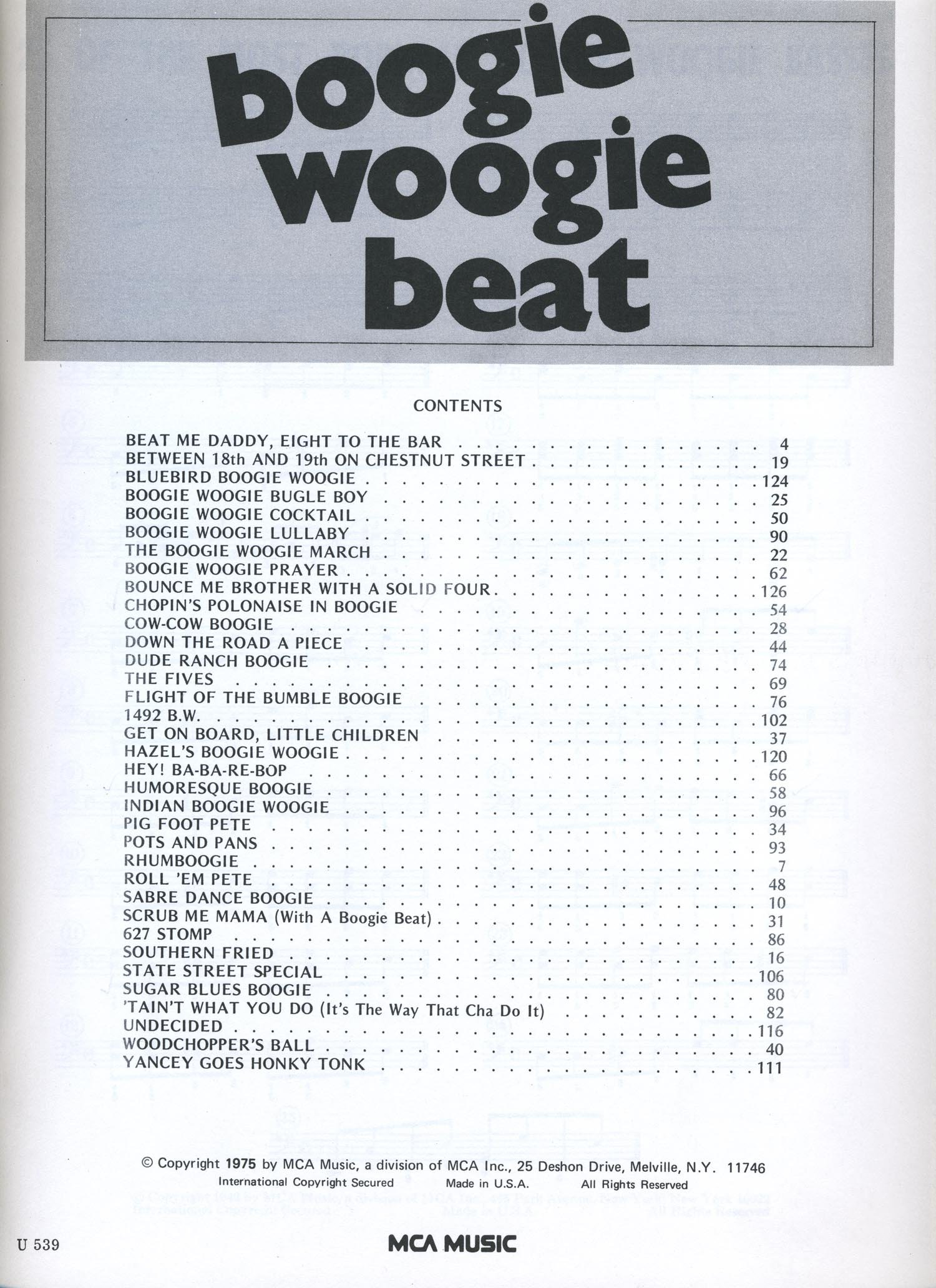 Boogie Woogie Beat 43 Hits Of Our Times Piano Solos Plus Songs
