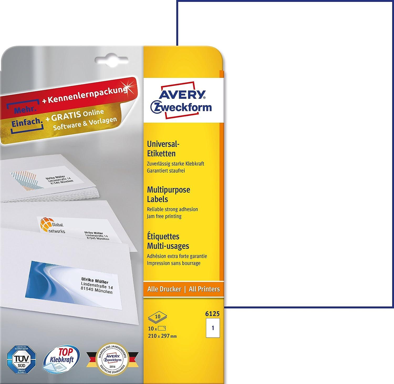 wei/ß Avery Zweckform 6125 Universal Etiketten mit ultragrip, 210 x 297 mm auf DIN A4, Papier matt, bedruckbar, selbstklebend, 10 Klebeetiketten auf 10 Blatt