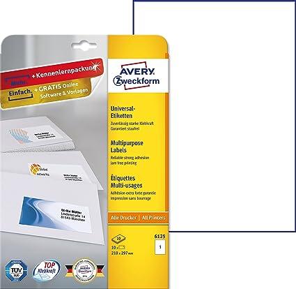 Avery 3470 - Etiquetas universales (210 x 297 mm, para todas las impresoras A4), 10 unidades, color blanco