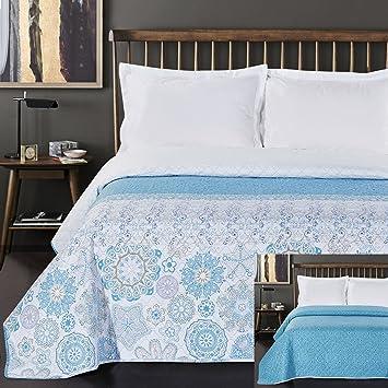 couvre lit bleu ciel DecoKing Couvre Lit avec Double Face Facile d'entretien   Motif  couvre lit bleu ciel