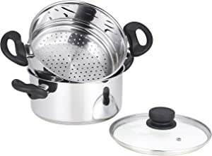 mockins 3 Piece Premium Heavy Duty Stainless Steel Steamer Pot Set Includes 3 Quart Cooking Pot , 2 Quart Steamer Insert and Vented Glass Lid | Stack and Steam Pot Set for All Cooking Surfaces