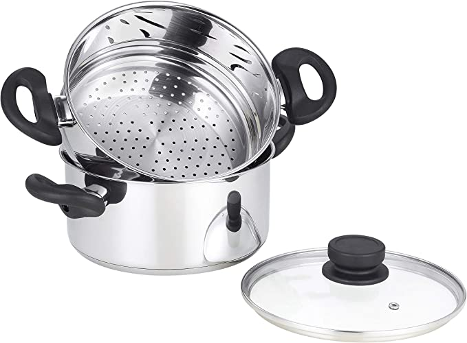 Mockins 3 Piece Premium Heavy Duty Stainless Steel Steamer Pot Set Includes 3 Quart Cooking Pot 2 Quart Steamer Insert And Vented Glass Lid Stack And Steam Pot Set For All Cooking Surfaces Kitchen Dining Amazon Com