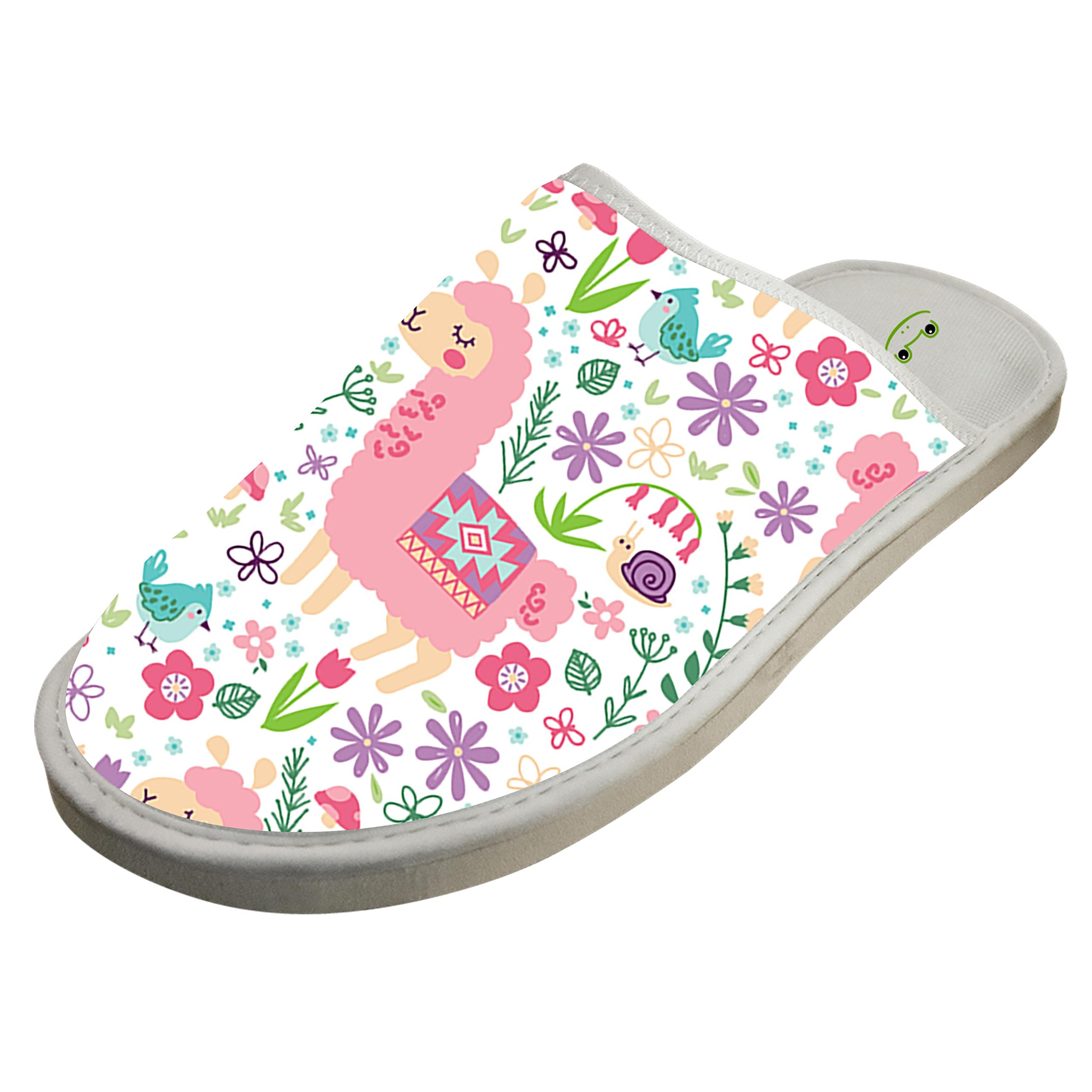 KOUY Summer Llama Closed Toe Cotton Slippers Warm Soft Indoor Shoes Non-watertight 6 D(M) US