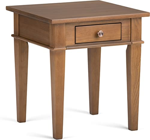 SIMPLIHOME Carlton SOLID WOOD 18 inch wide Square Contemporary End Side Table