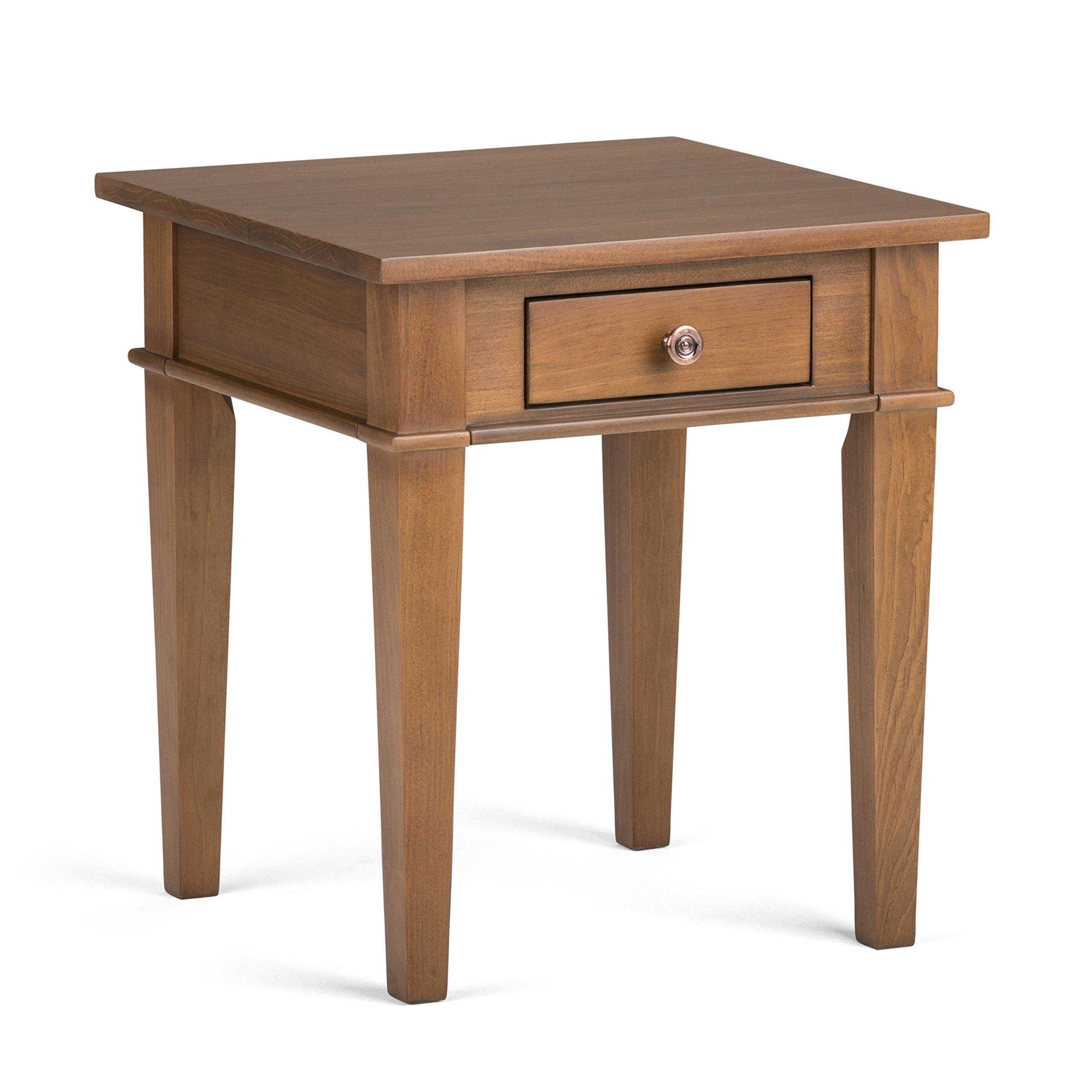 Simpli Home Carlton Solid Wood End Side Table, Medium Saddle Brown