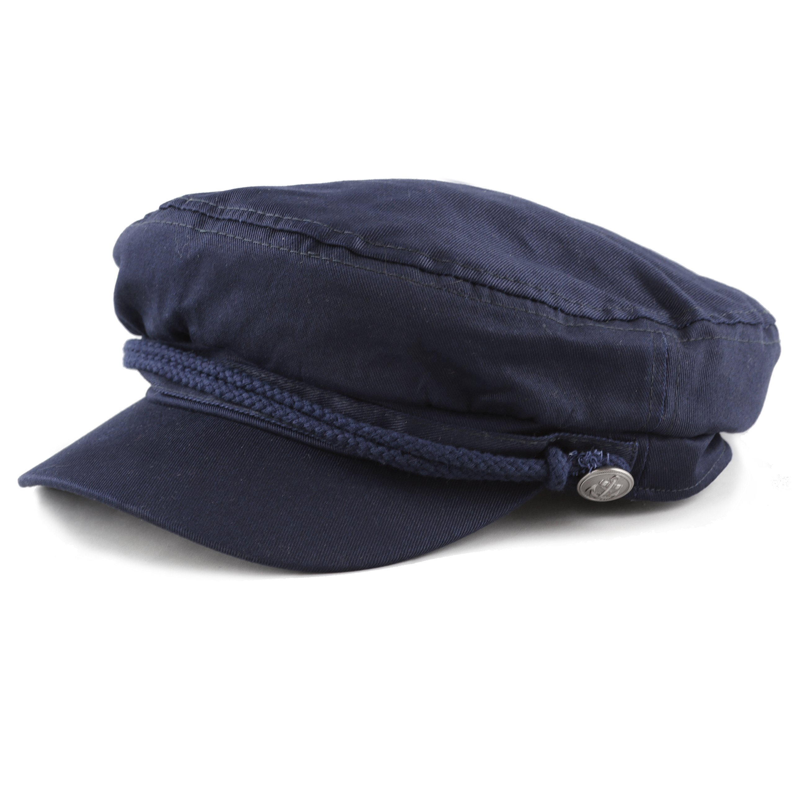 The Hat Depot BLACK HORN Kids Cotton Greek Fisherman's Sailor Fiddler Driver Hat Cap … (Navy)