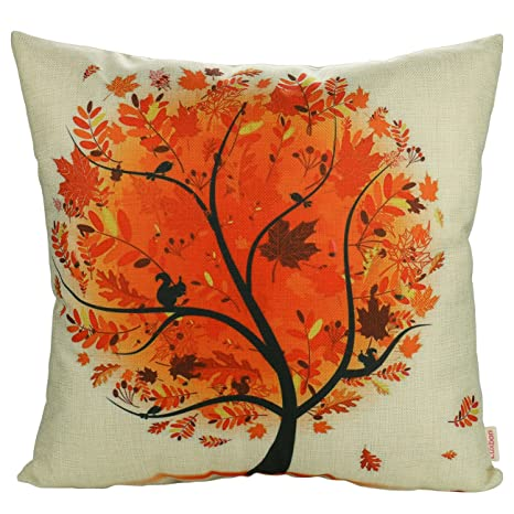 Pleasant Luxbon Autunm Maple Leaves Tree Cotton Linen Sofa Chair Seat Throw Pillow Case Cushion Cover 18 X 18 45X45Cm Insert Not Included Machost Co Dining Chair Design Ideas Machostcouk