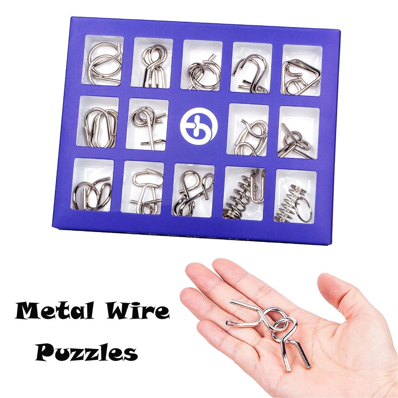 happy event 15Pcs Metalldraht Puzzles | Brain Teaser Metalldraht Puzzles | Pä dagogisches Spielzeug Geschenk (B)
