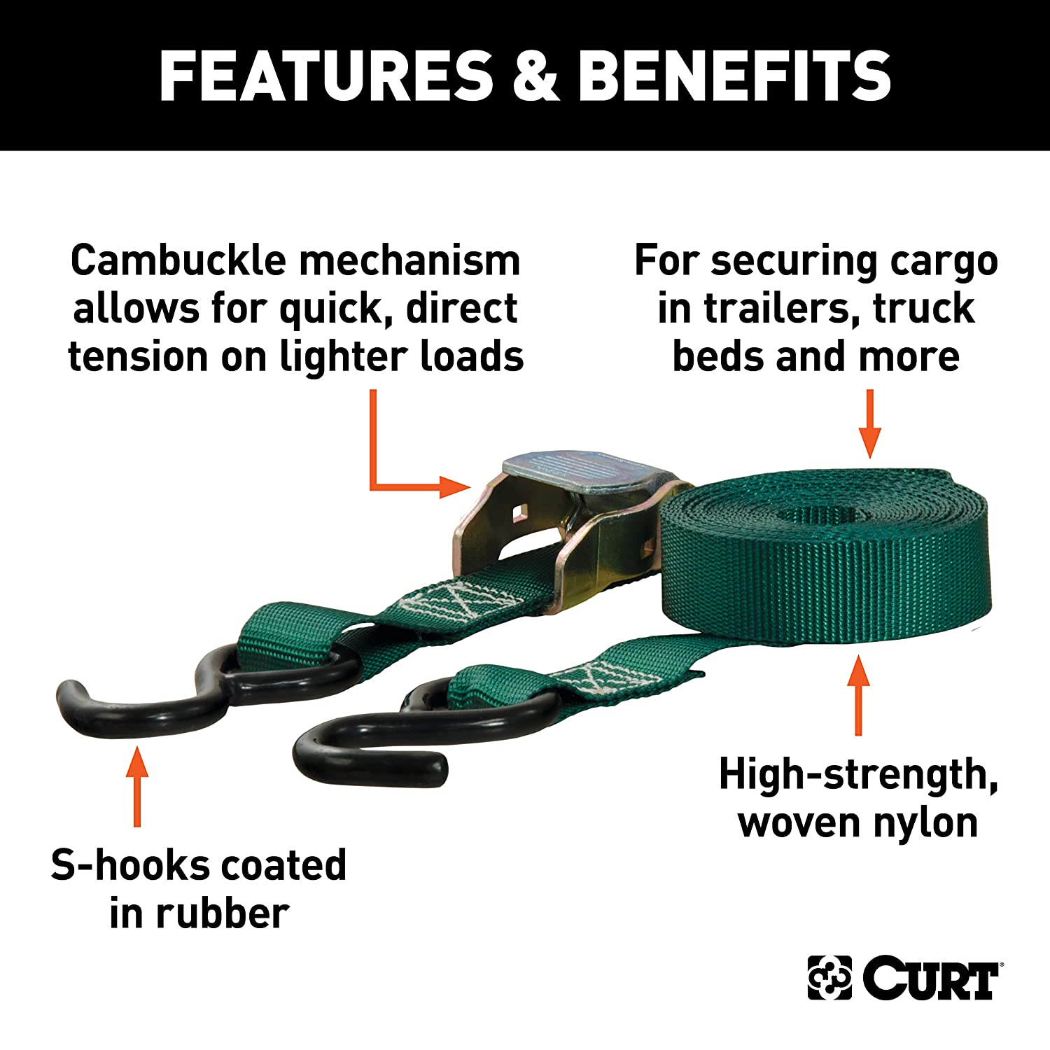 Break Strength Pack of 2 CURT 83015 1-Inch x 15-Foot Dark Green Nylon Cam Buckle Cargo Straps with S Hooks 900 lbs