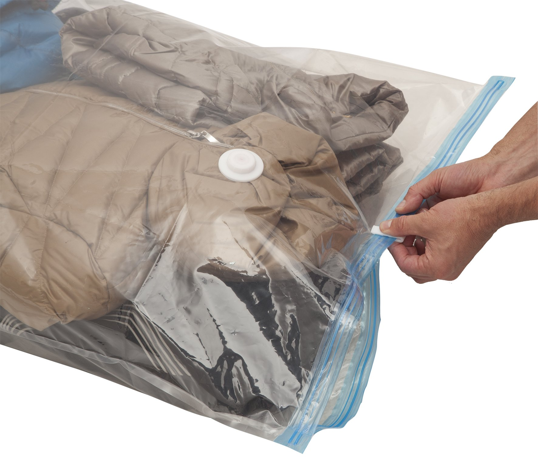 6 packs compressed reusable storage bags for clothes |MY VACUUM-BAG TO STORE | extra thick | universal size 60 x 80 cm | protects, duvets, bedding, pillows, against dampness, mildew, dust, and dirt